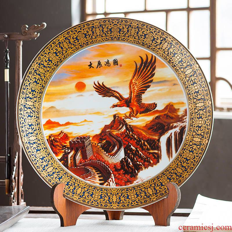Jingdezhen ceramics furnishing articles household decorations hanging dish sitting room ark, large Chinese arts and crafts decorative plate