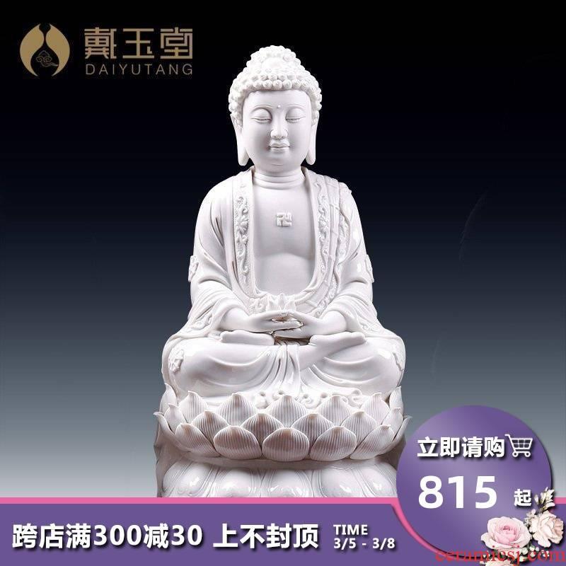 Yutang dai dehua ceramic Buddha amitabha Buddha triple gem home furnishing articles for lotus Buddha D21-08