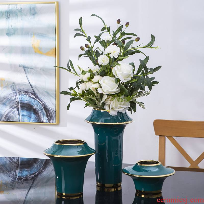 Light European - style key-2 luxury ceramic vases, flower arranging TV ark, place of the sitting room porch American household table dry flower decoration
