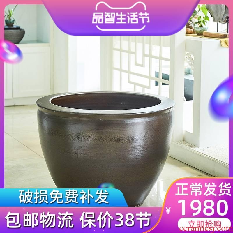 1 meter of jingdezhen ceramic VAT extra large courtyard brocade carp lotus hotel opening gifts tank a goldfish bowl