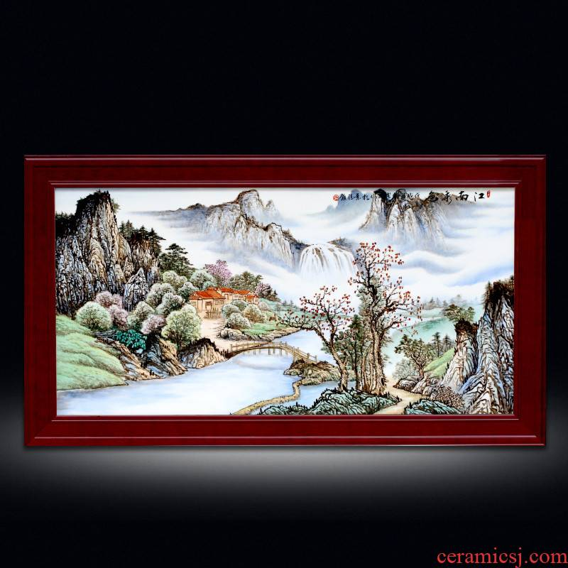 Chinese lucky feng shui living room sofa setting wall adornment jingdezhen hand - made porcelain plate painting landscapes of corridor murals