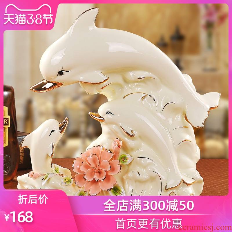 Modern creative wine sitting room TV ark, home decoration ceramic handicraft dolphins furnishing articles wedding gift