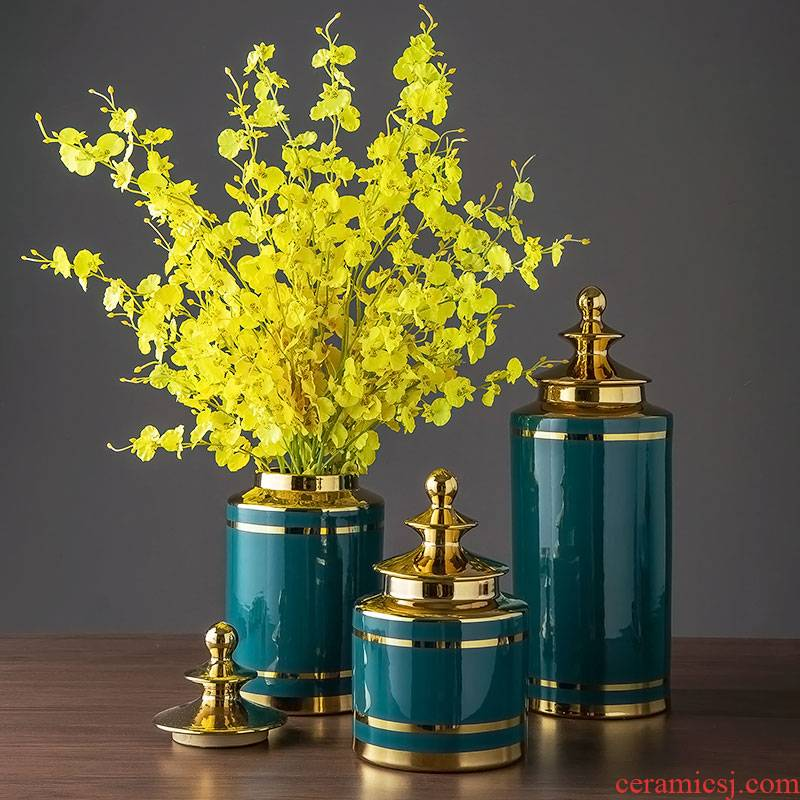 Jingdezhen ceramic flower bottles furnishing articles European - style home sitting room TV ark adornment ornament dried flower flower arranging flowers