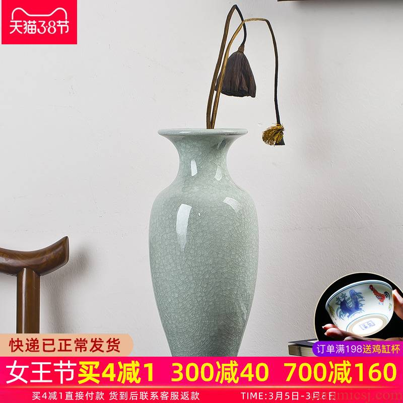 Jingdezhen ceramic vase furnishing articles flower arranging Chinese style household adornment sitting room ground large antique jun porcelain vases
