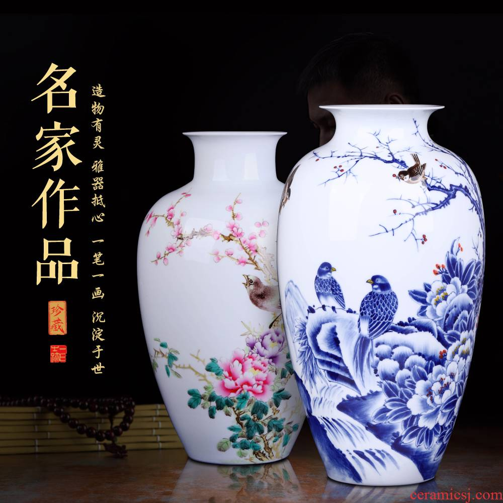 Jingdezhen ceramics hand - made vases, flower arrangement sitting room place, a large Chinese style household TV ark, decorative arts and crafts