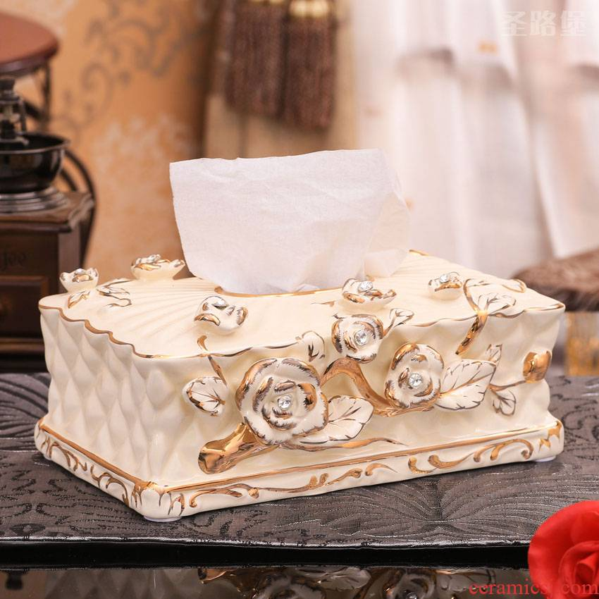 SAN road fort European tissue box ceramic creative living room large move anaglyph rose decoration box furnishing articles