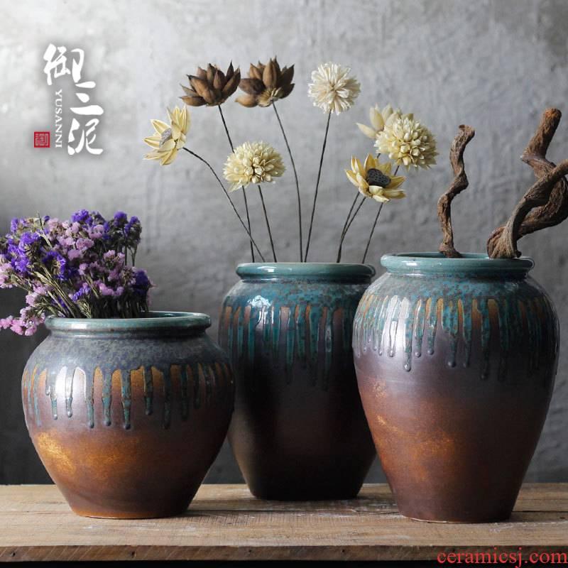 Jingdezhen archaize flow glaze vase furnishing articles jar style villa garden more meat potted flower art big flowerpot ceramics