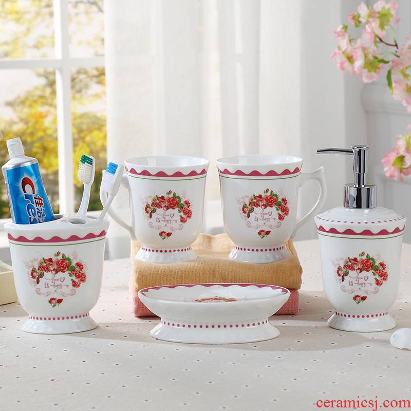 The Set ceramic sanitary ware has five toilet wash gargle suit mouthwash suite bathroom wash gargle cup suit creative contracted