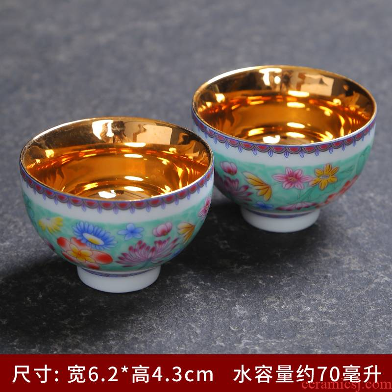 Jingdezhen ceramic hand - made personal pick flowers cup sample tea cup powder enamel glaze on all hand kung fu master cup single CPU
