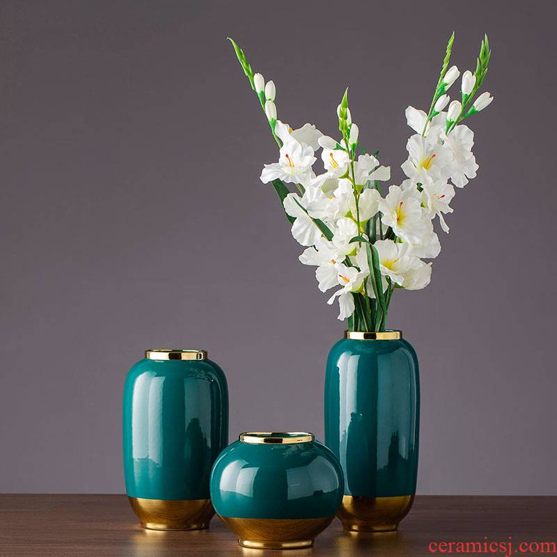 Dark green, see flower furniture of Europe type restoring ancient ways dried flower vase villa ceramic furnishing articles furnishing articles the mock up room
