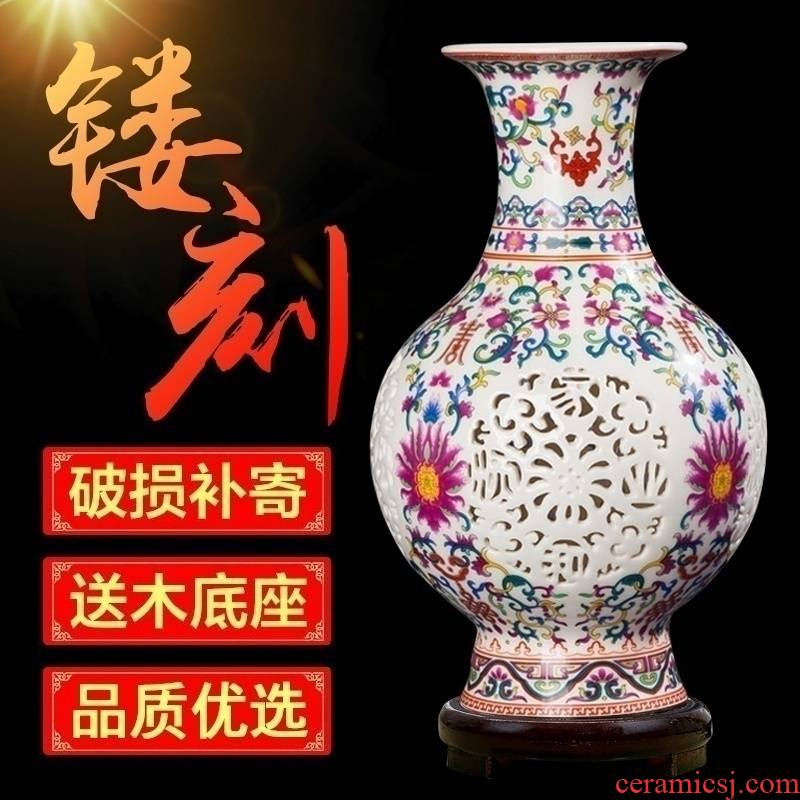 New Chinese style of jingdezhen ceramics hollow - out flower arranging blue and white porcelain vase wine sitting room adornment is placed porcelain