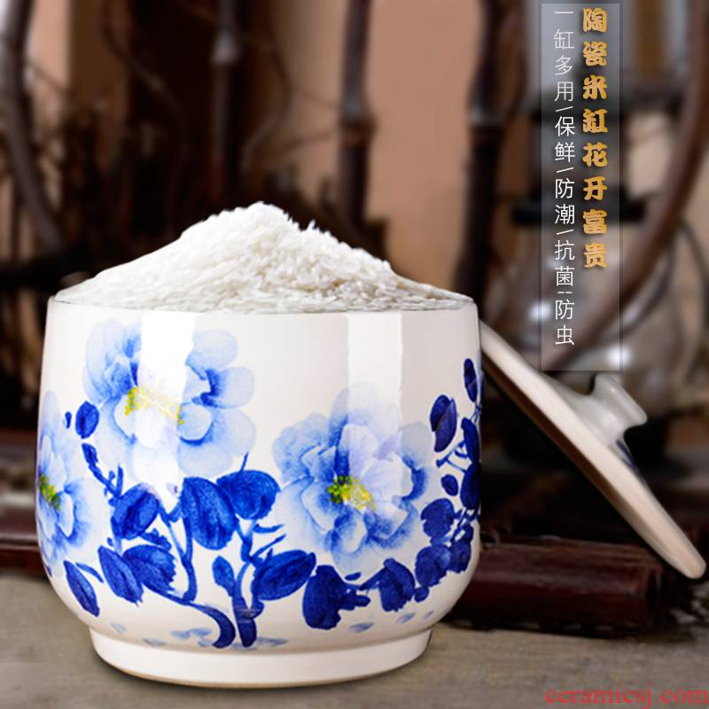 Jingdezhen ceramic barrel ricer box meter box storage blooming flowers with cover seal storage POTS household moistureproof insect - resistant