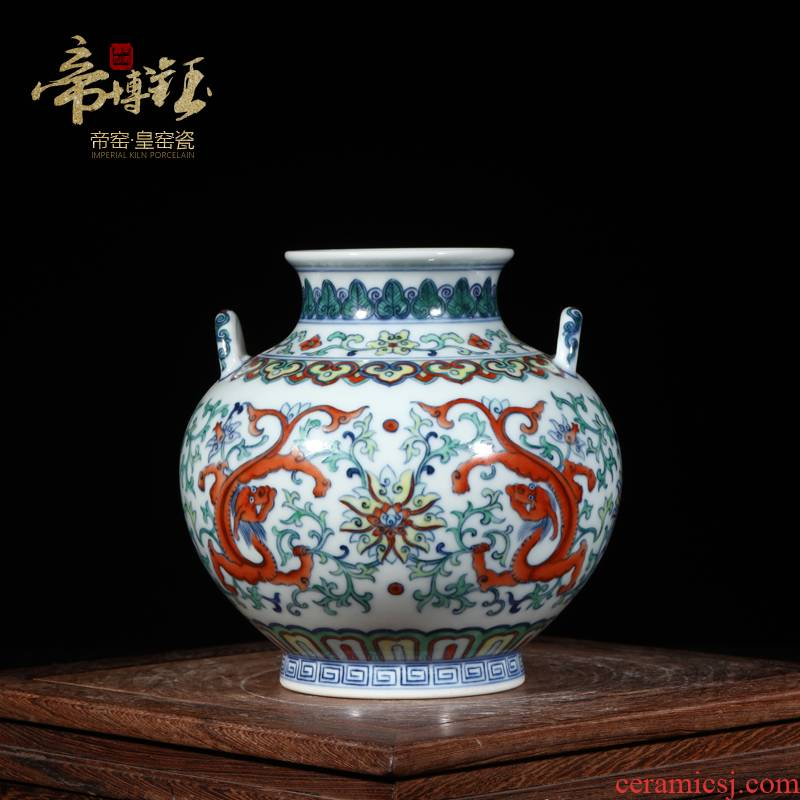 Antique hand - made porcelain of jingdezhen ceramics bucket color dragon grain ears GuanPing sitting room porch decoration furnishing articles