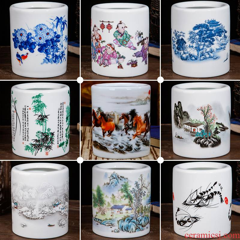 Jingdezhen ceramics household brush pot office furnishing articles study office supplies decoration hair brush pot student gifts