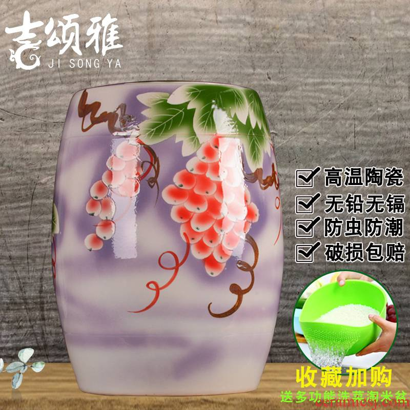 Ceramic barrel barrels rice flour can receive household seal 20 jins 50 kg insect - resistant tidal storage bins with cover ricer box