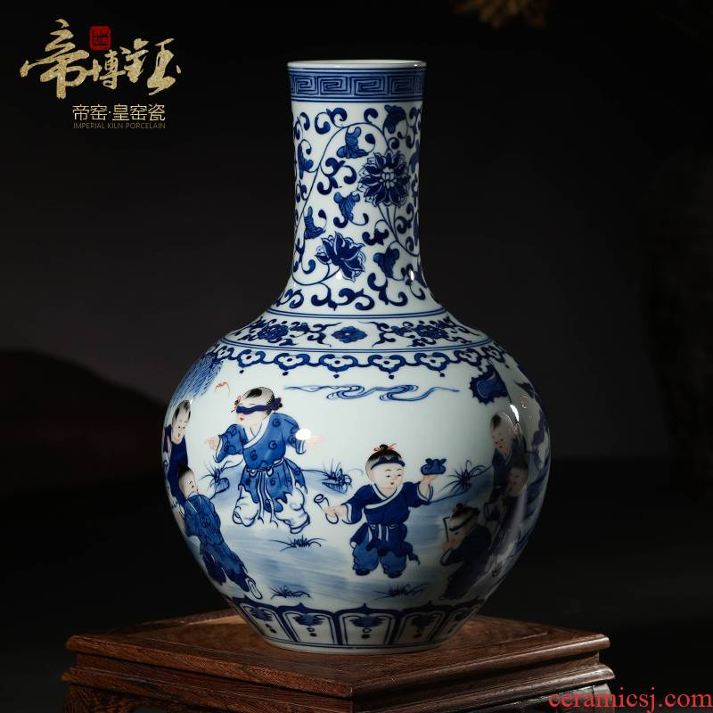 Jingdezhen ceramics antique hand - made color porcelain dou xiang shan baby home decoration scene graph tree antique furnishing articles