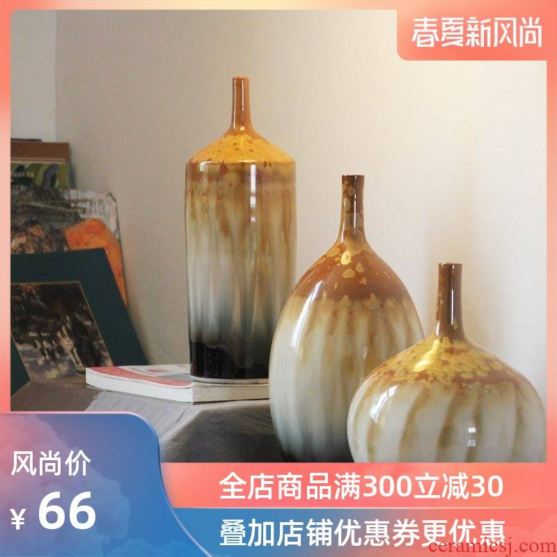 I and contracted Europe type three - piece sitting room color of jingdezhen ceramics glaze up vases, decorative furnishing articles
