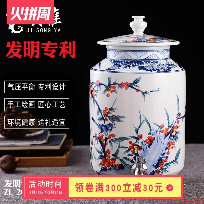 Soaking jar 15 jin ceramics with leading domestic hand - made bottle of bottle wine glass art decoration