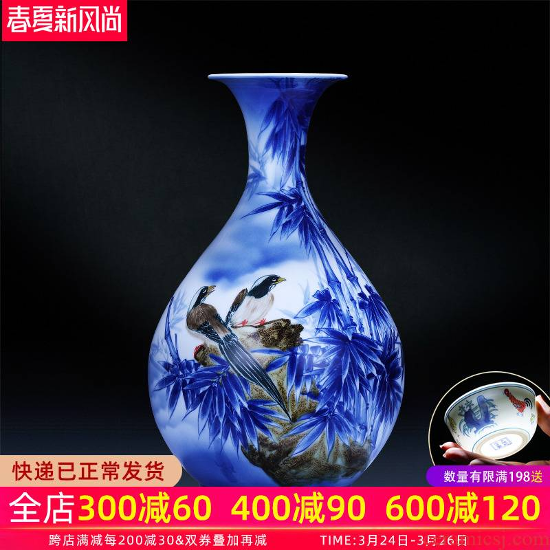 Jingdezhen ceramics hand - made of blue and white porcelain vase up creative Chinese I household adornment furnishing articles