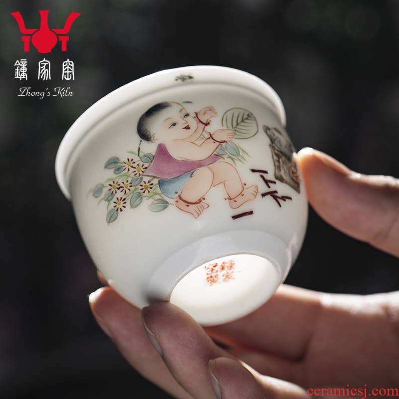 Clock home up jingdezhen manual hand - made pastel character cup masters cup kung fu tea set personal single cup sample tea cup