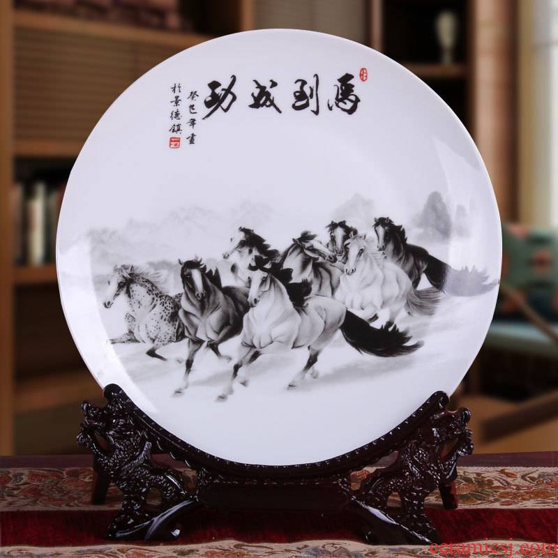 Success hang dish of jingdezhen ceramics decoration plate modern household adornment handicraft furnishing articles of much money