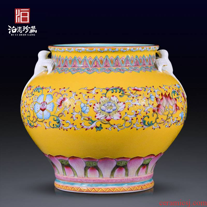Jingdezhen ceramics archaize the qing qianlong yellow scramble for flower powder enamel swallow cylinder sitting room home decor collection furnishing articles