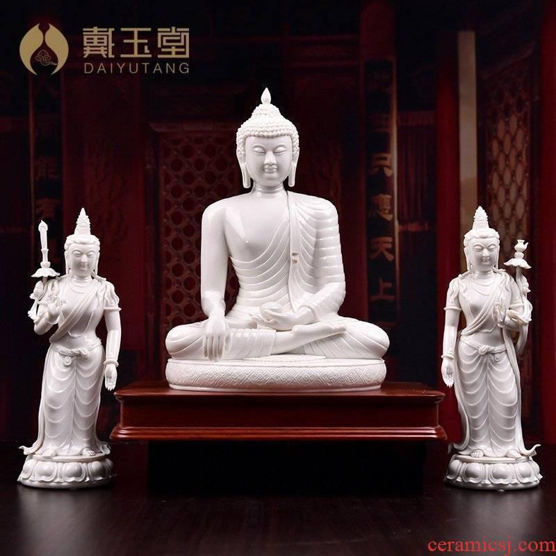 Yutang dai dehua porcelain its art collection place three Buddha shakyamuni Buddha D01-075