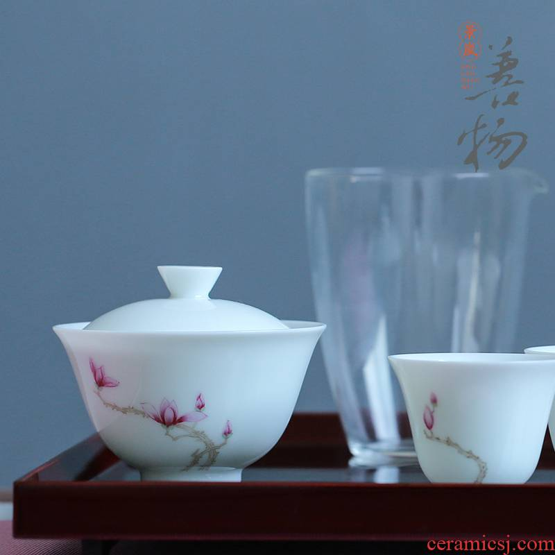 Good thing, jingdezhen demand flower tea set household kung fu tea tea tureen liuhe a gift boxes