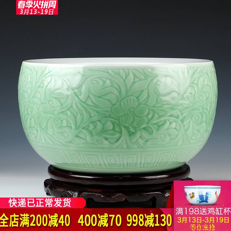 Jingdezhen ceramics pure hand - carved blue glaze daikin aquarium tortoise cylinder shallow water lily water lotus basin furnishing articles