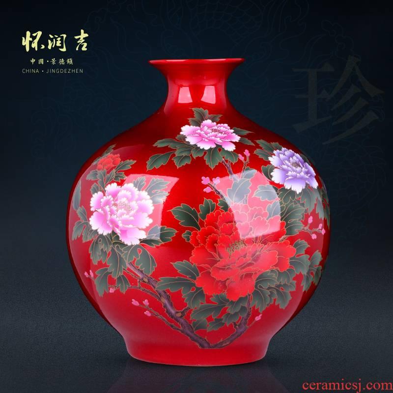 Jingdezhen ceramic vases, crystal glaze blooming flowers vase decoration of Chinese style office furnishing articles furnishing articles antique porcelain