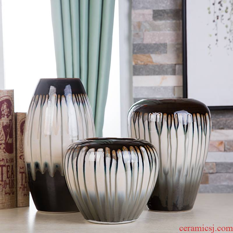 The Flow of jingdezhen ceramics glaze vase three - piece suit of new Chinese style living room furnishing articles wine handicraft decorative household items