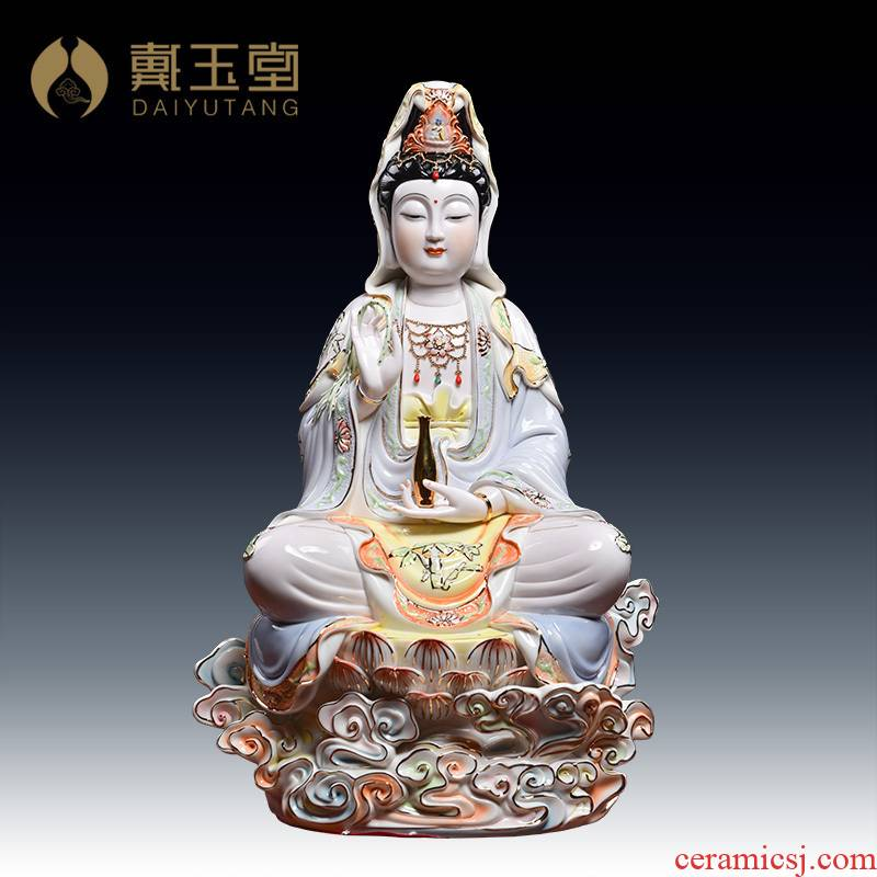 Yutang dai household ceramics in the south China sea goddess of mercy Buddha worship that occupy the home furnishing articles under the glaze color lotus guanyin sitting room