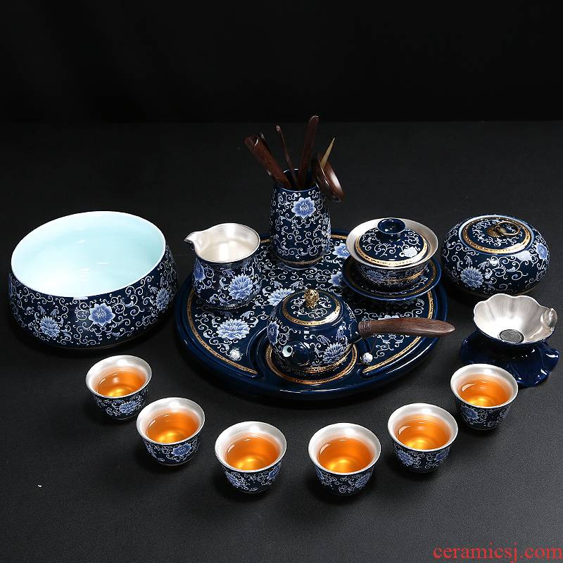Silver tea set home a whole set of kung fu suit manual coppering. As household ceramic tea set blue and white porcelain teapot teacup gift boxes