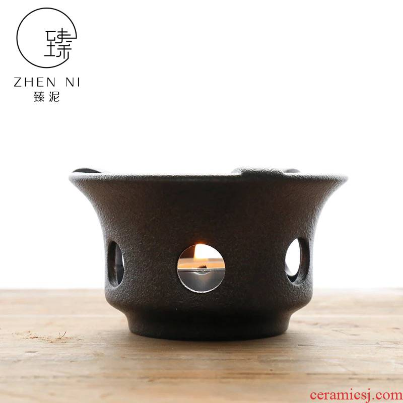 By Japanese ceramic mud dry black pottery alcohol lamp based Taiwan base boiled tea stove heating temperature tea stove teapot tea set