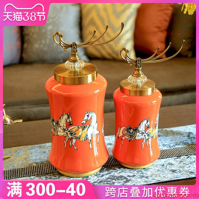 New Chinese style porch place, household act the role ofing is tasted I and contracted creative ceramic storage tank Europe type TV ark, adornment