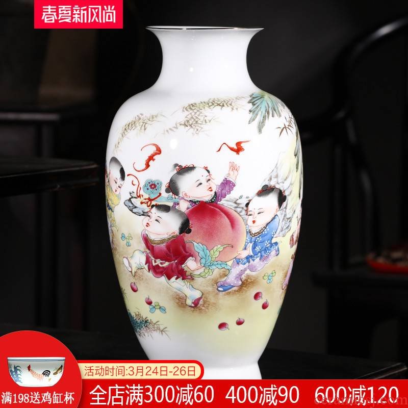 Jingdezhen ceramics vase furnishing articles flower arranging new Chinese style living room live figure gift porcelain home decoration arts and crafts