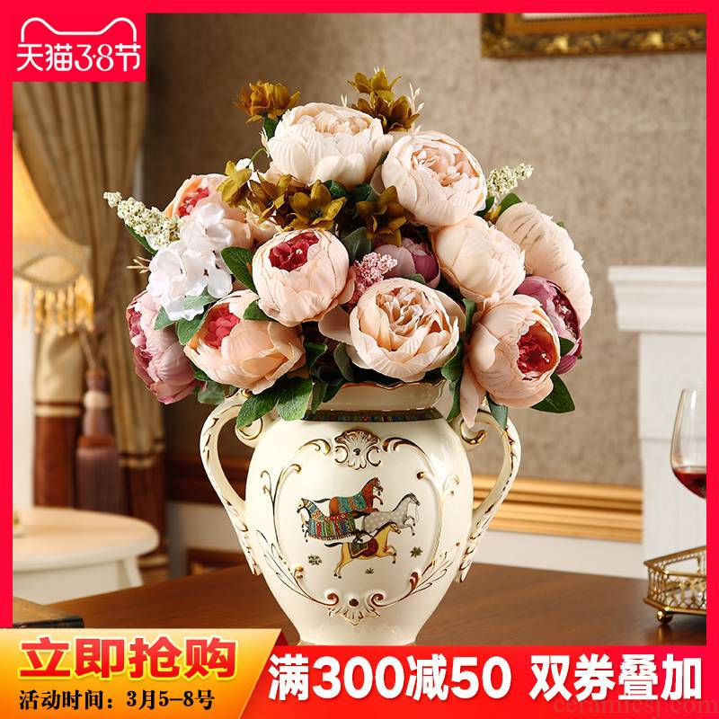 European ceramic vase furnishing articles sitting room TV GuiJiao household adornment what dried flower arranging flowers key-2 luxury American - style table
