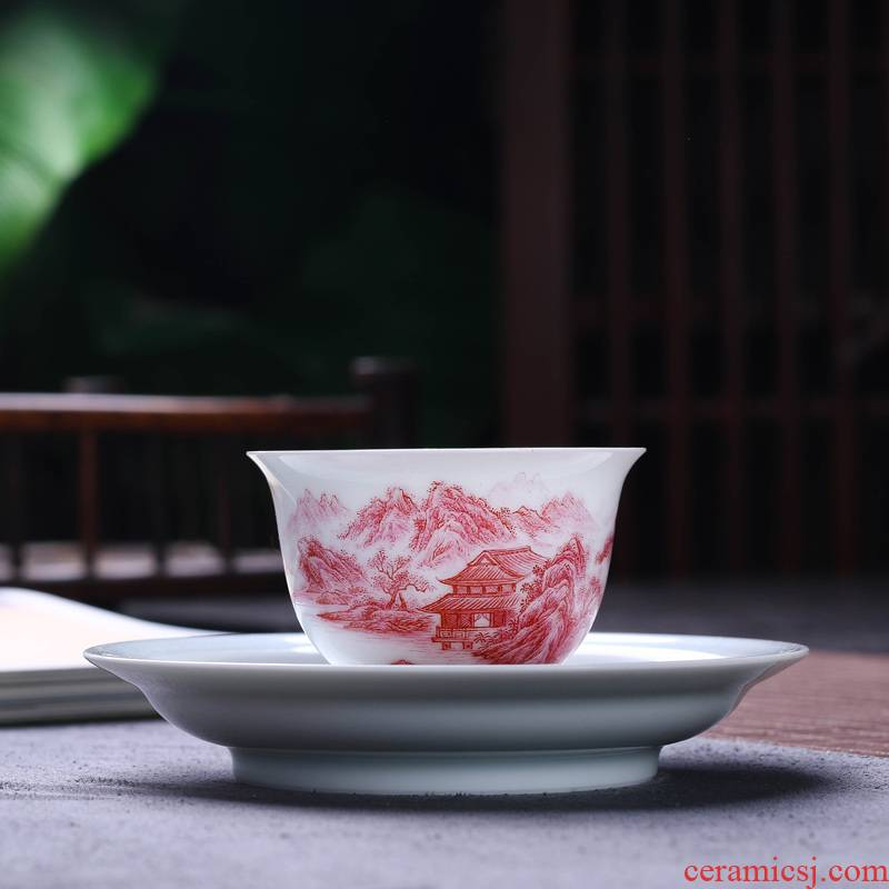 Offered home - cooked ceramic sample tea cup in hand - made agate red painting landscape jingdezhen porcelain tea set tea bowl, cups