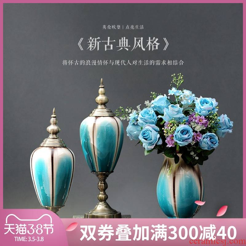 Europe type restoring ancient ways furnishing articles American living room home decoration ceramic vases, table simulation flowers floral flower arrangement suits for
