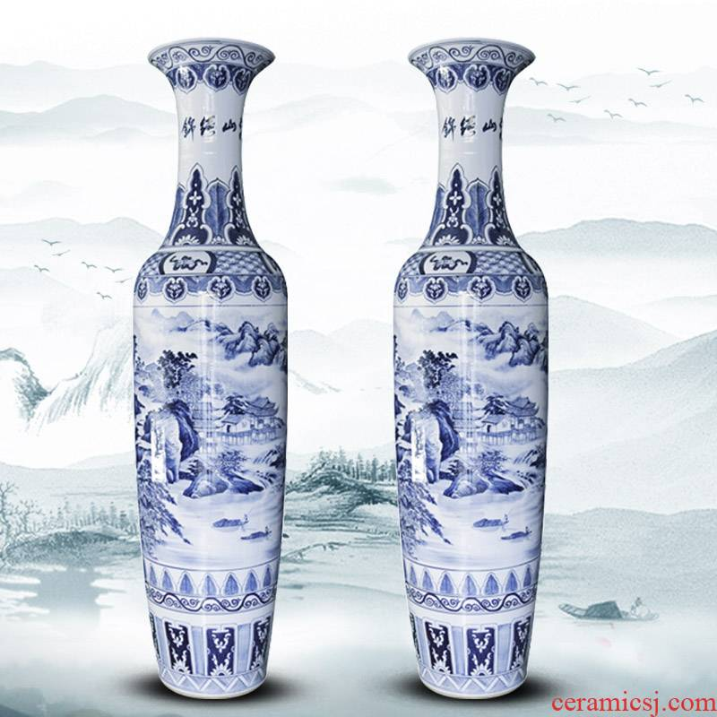Hand - made jinxiu blue and white porcelain is jingdezhen ceramics was sitting room of large vase villa furnishing articles opening gifts