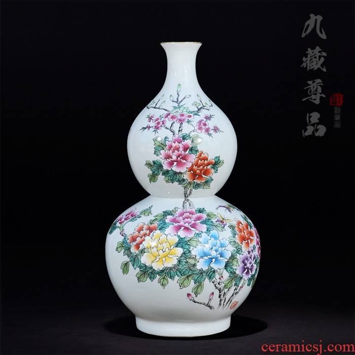 Jingdezhen ceramics antique hand - made famille rose blooming flowers gourd marriage room TV ark, handicraft furnishing articles