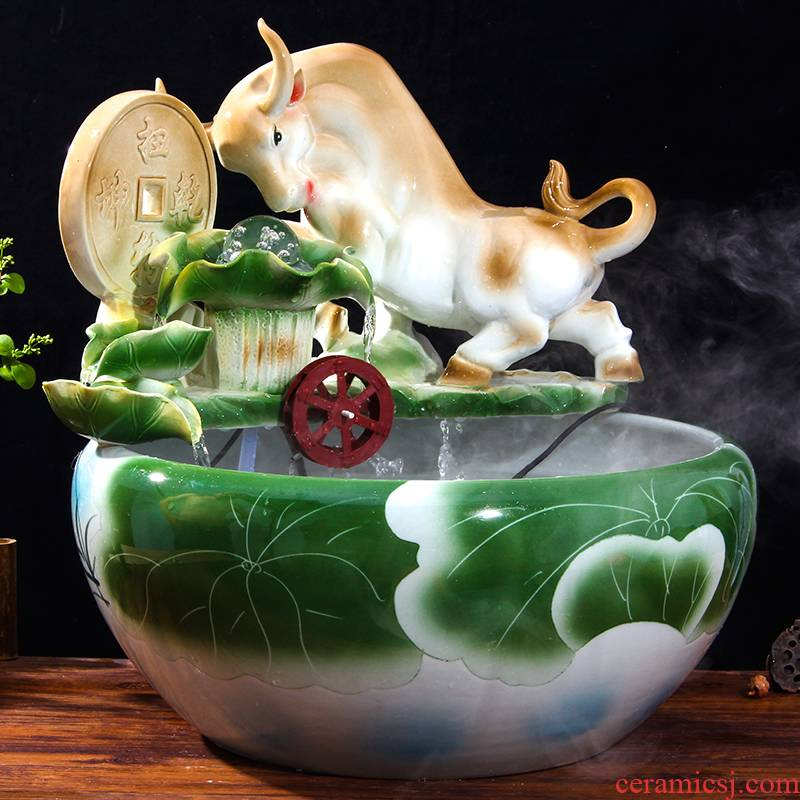 Chinese ceramic water fountain furnishing articles sitting room feng shui round ball creative aquarium water features humidifier decorations transshipment