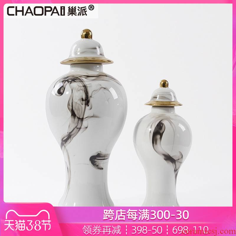 Modern new Chinese ink painting the design general ceramic bottle is placed between example in porch ark jar decoration villa