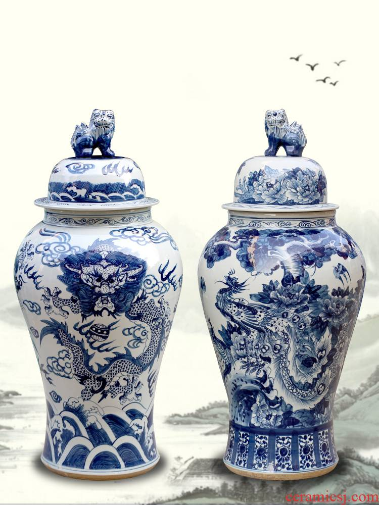 Jingdezhen ceramic longfeng general tank storage tank is big of blue and white porcelain vase home furnishing articles sitting room adornment ornament