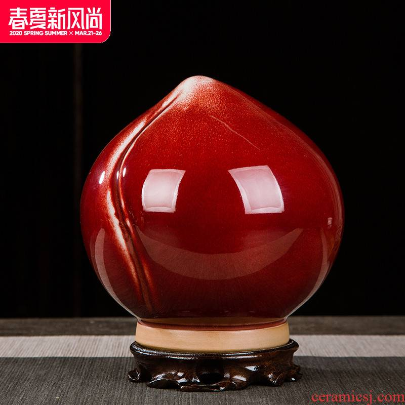 China jingdezhen ceramics vase of red peach home furnishing articles rich ancient frame study furnish crafts