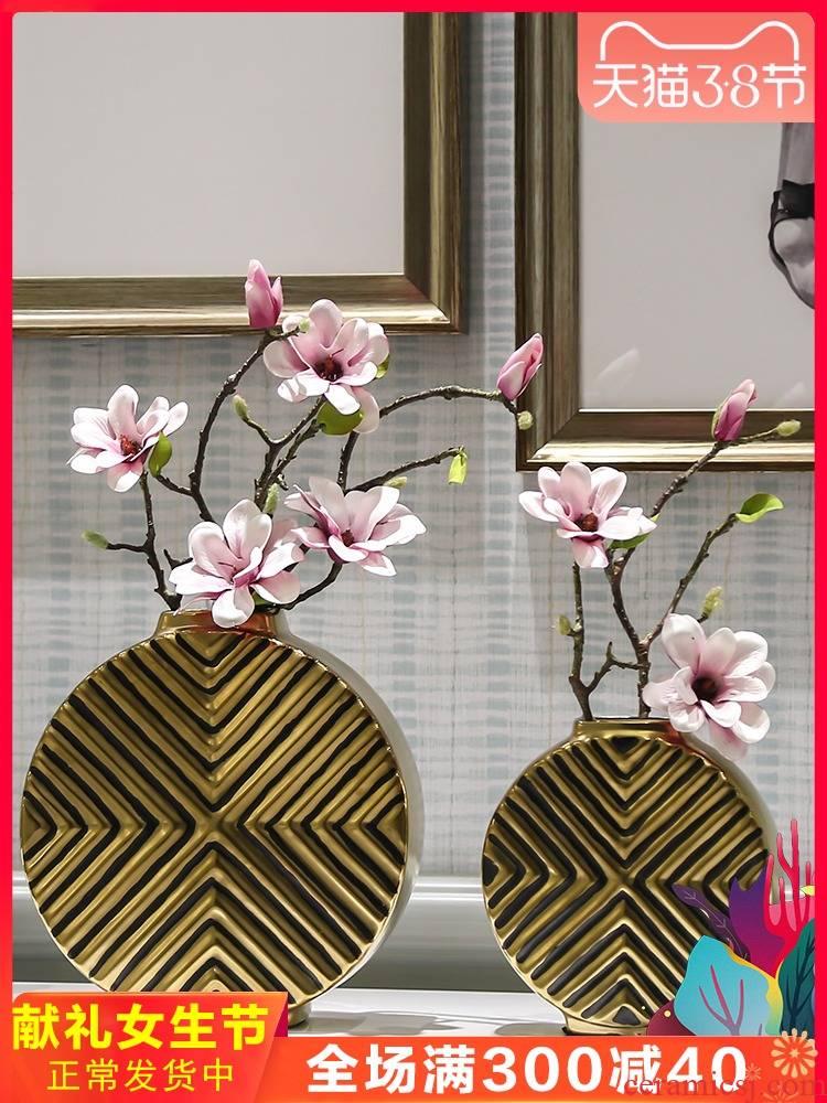 Nordic ceramic ikea vase simulation flower arranging dried flowers, golden light key-2 luxury example room living room TV ark, home furnishing articles
