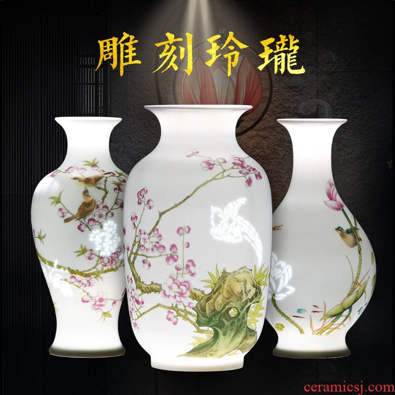 Porcelain of jingdezhen ceramics flower bottle manually exquisite flower arranging dried flowers of I sitting room home furnishing articles