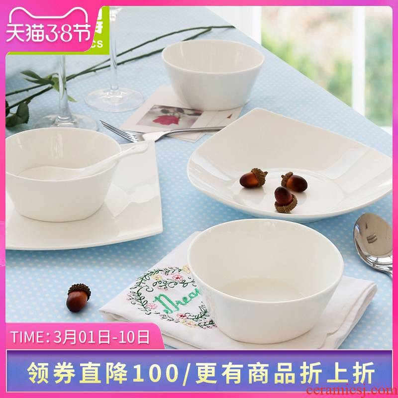 Think hk to 18 head ipads porcelain tableware suit tangshan ipads porcelain household pure white lead - free Korean dishes chopsticks dishes