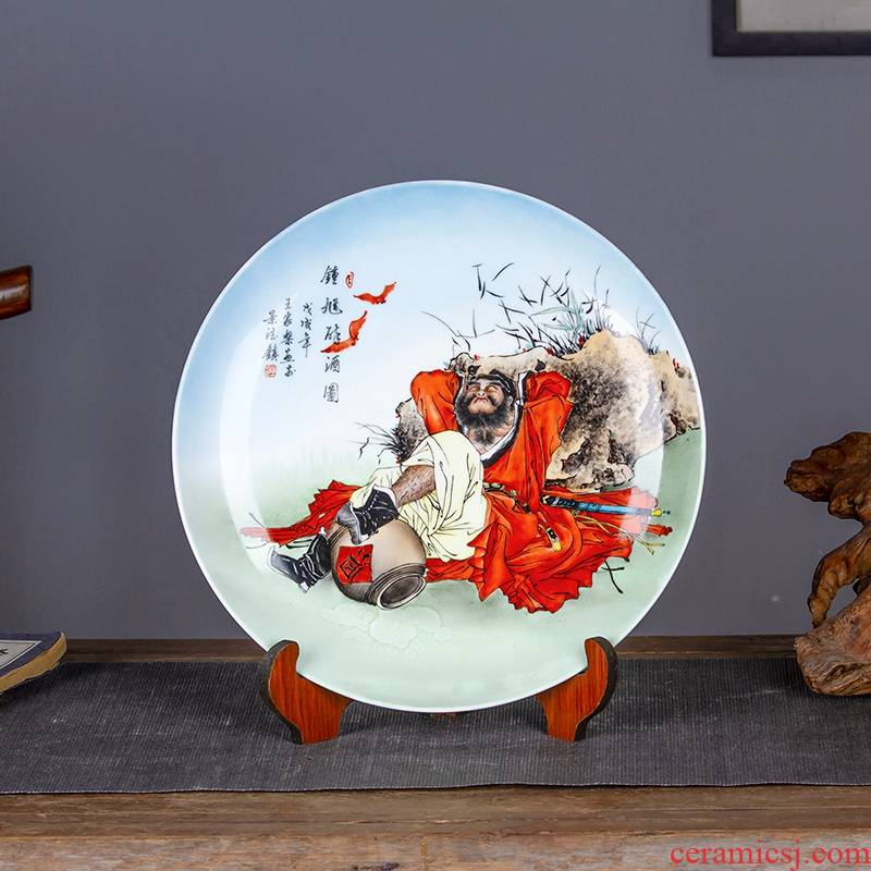 Jingdezhen chinaware decorative sit hang dish plate doors of drunkenness home sitting room adornment desktop furnishing articles