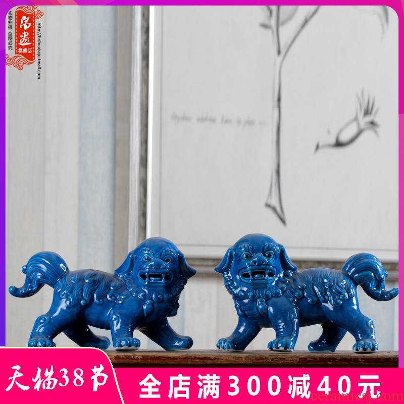 Jingdezhen ceramic lion furnishing articles Chinese style household soft adornment town curtilage sitting room study arts and crafts porcelain lion a pair